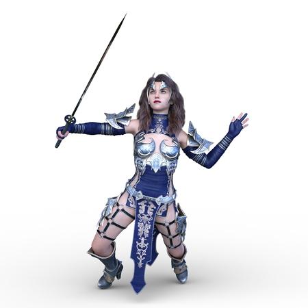 Rendering 3d cg di donna sexy combattente