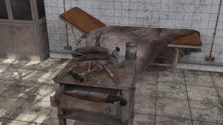 3D CG rendering of old medical space