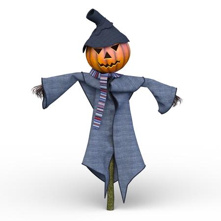3D CG rendering of pumpkin scarecrow Reklamní fotografie - 109212750