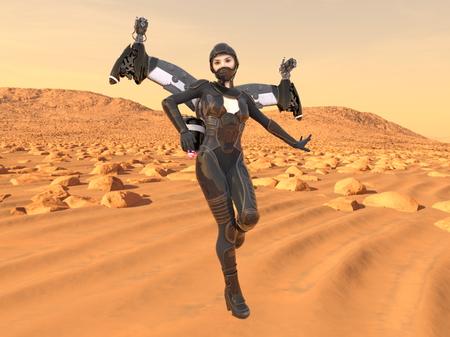 3D CG rendering of fling woman