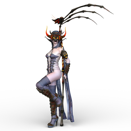 3D CG rendering of Dark heroine