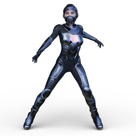 3D CG rendering of heroine 写真素材