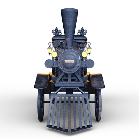 3D CG rendering of Steam Hearse Stock Photo