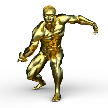 3D CG rendering of a strong gold man 写真素材