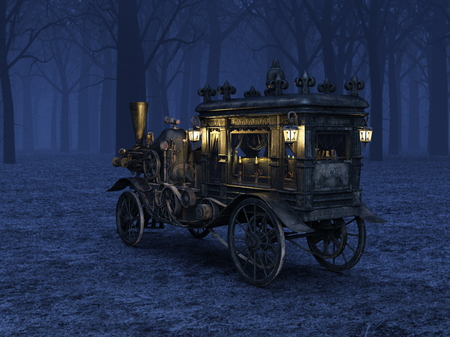 D CG rendering of Steam Hearse Stock Photo
