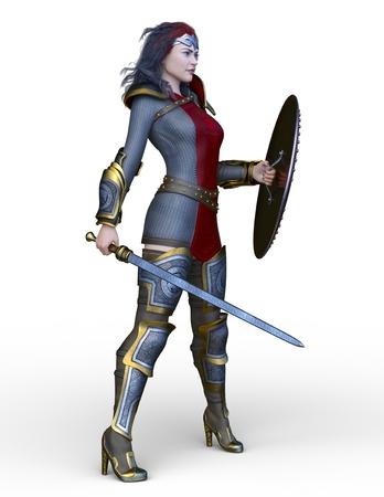 3D CG rendering of Sexy warrior.