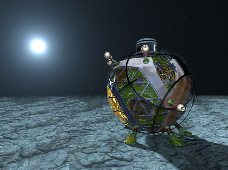 3D CG rendering of space probe. Stock Photo