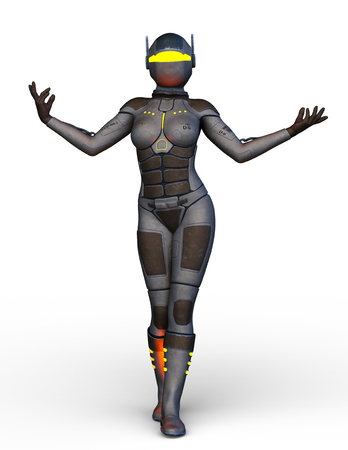 3D CG rendering of cyborg woman 스톡 콘텐츠