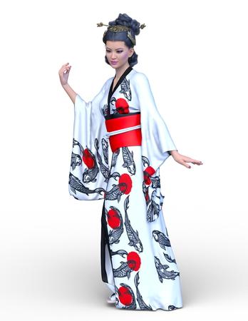 3D CG rendering of kimono woman Foto de archivo - 111508185