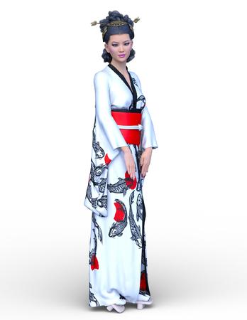 3D CG rendering of kimono woman Foto de archivo - 111508187