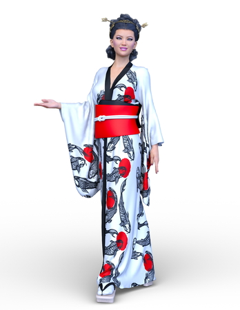3D CG rendering of kimono woman 스톡 콘텐츠