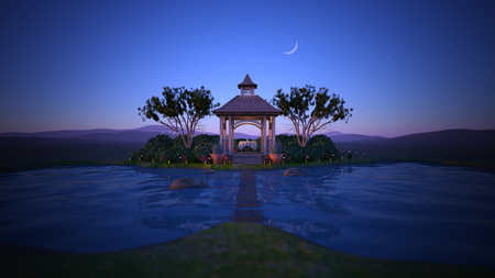 3D CG rendering of cottage 写真素材