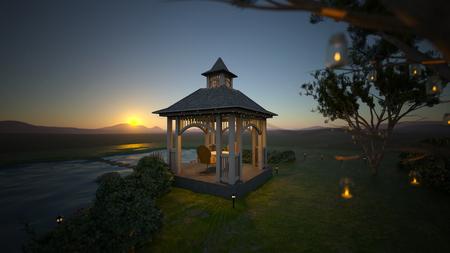 3D CG rendering of cottage Foto de archivo - 112832190