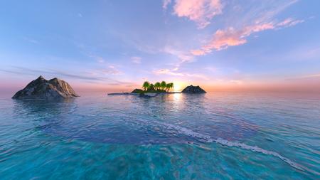 3D CG rendering of Beach Banco de Imagens