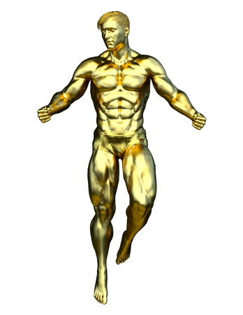 3D CG rendering of a gold man Imagens