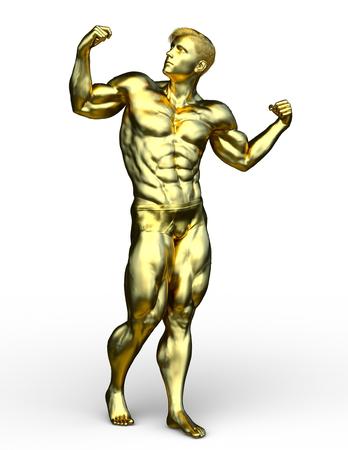 3D CG rendering of gold man statue Foto de archivo - 113776943