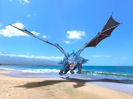 3D CG rendering of Flying Dragon 写真素材 - 113777120