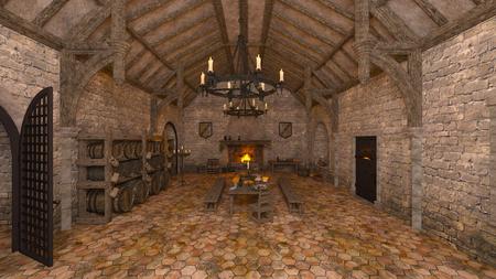 3D CG rendering of medieval living 写真素材