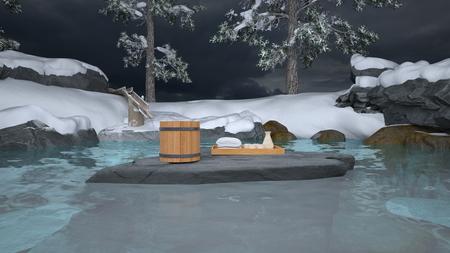 3D CG rendering of Japanese winter spa Yu no Yado Yufuin