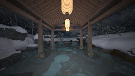 3D CG rendering of Japanese winter spa