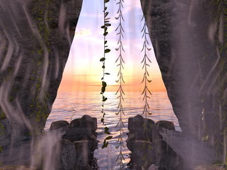 3D CG rendering of Cave 写真素材