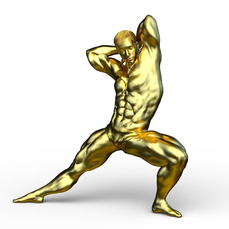 3D CG rendering of gold man statue Foto de archivo - 114829944