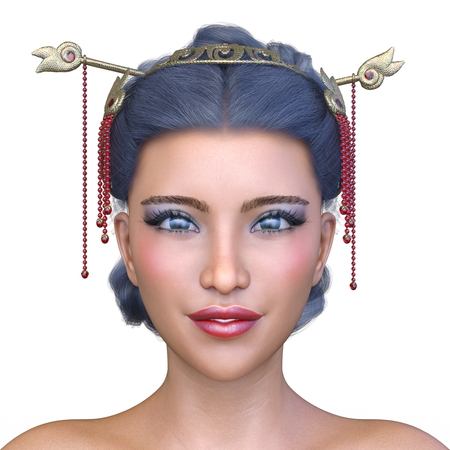 3D CG rendering of asia face make