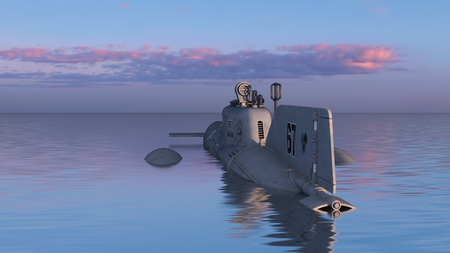 3D CG rendering of Submarine 写真素材