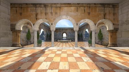 3D CG rendering of garden 스톡 콘텐츠