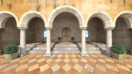 3D CG-weergave van tuin Stockfoto