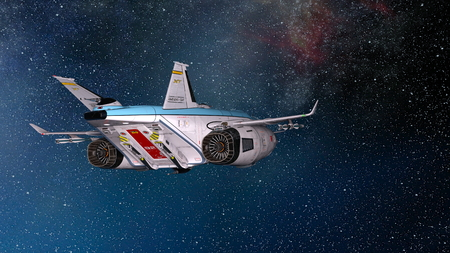 3D CG rendering of space ship. Stockfoto