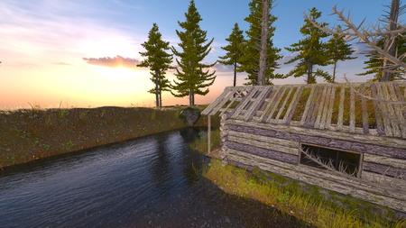 3D CG rendering of cottage Foto de archivo - 116627582