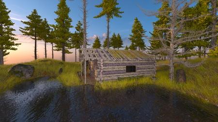 3D CG rendering of cottage Foto de archivo - 116627583