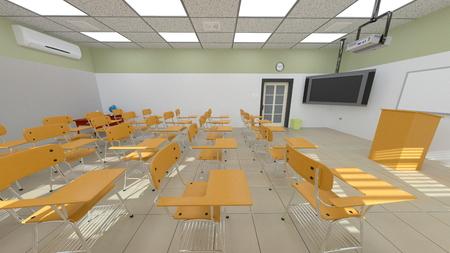 3D CG rendering of classroom 版權商用圖片