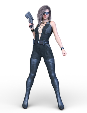3D CG rendering of Dark heroine