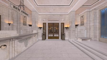 3D CG rendering of hallway 写真素材