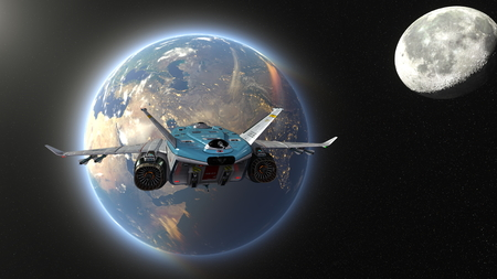 3D CG rendering of space ship. Elements of this Image Furnished By NASA