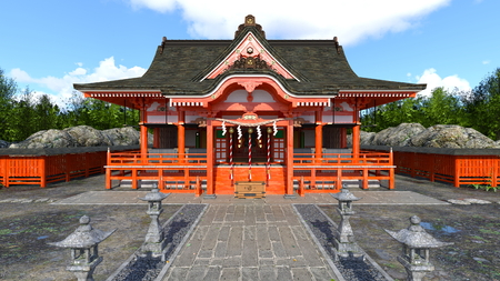 3D CG rendering of Shinto shrine Stock Photo - 120544220