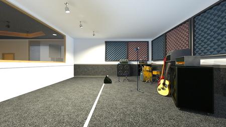 3D CG rendering of Recording studio Stock Photo