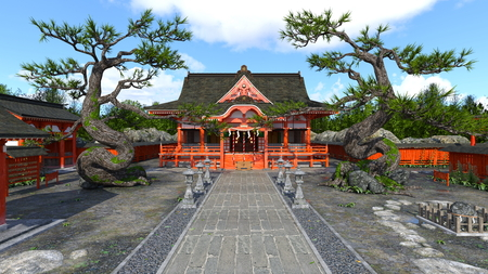 3D CG rendering of Shinto shrine