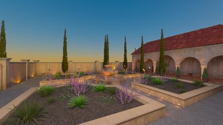 3D CG rendering of garden 写真素材