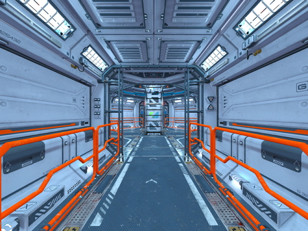 3D CG rendering of space station Archivio Fotografico - 125394150