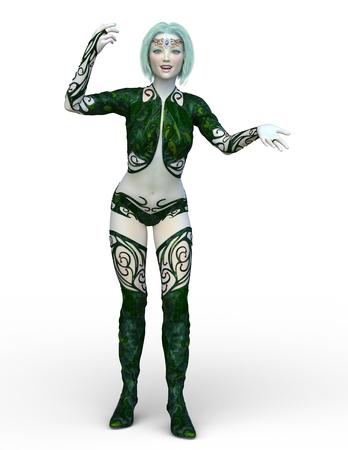 3D CG rendering of Costume woman