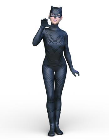 3D CG rendering of cat woman Stock Photo