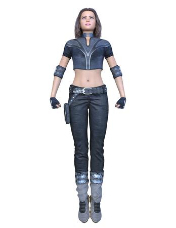 3D CG rendering of heroine Stock Photo