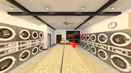 3D CG rendering of laundromat