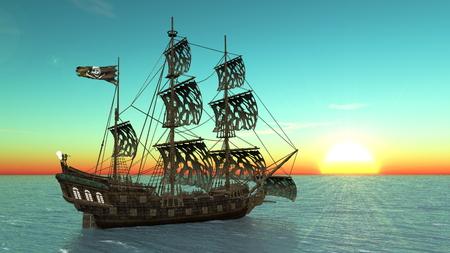 3D CG rendering of ship Reklamní fotografie