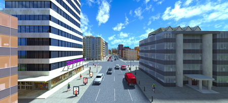 3D CG rendering of cityscape Stockfoto - 122253093