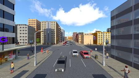 3D CG rendering of cityscape Stockfoto - 122253095