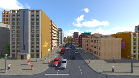 3D CG rendering of cityscape Stockfoto - 122253307